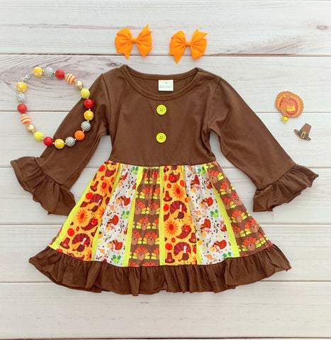 Lil' Turkey Thanksgiving Panel Dress