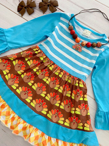 """Gobble Gobble"" Thanksgiving Boutique Dress"