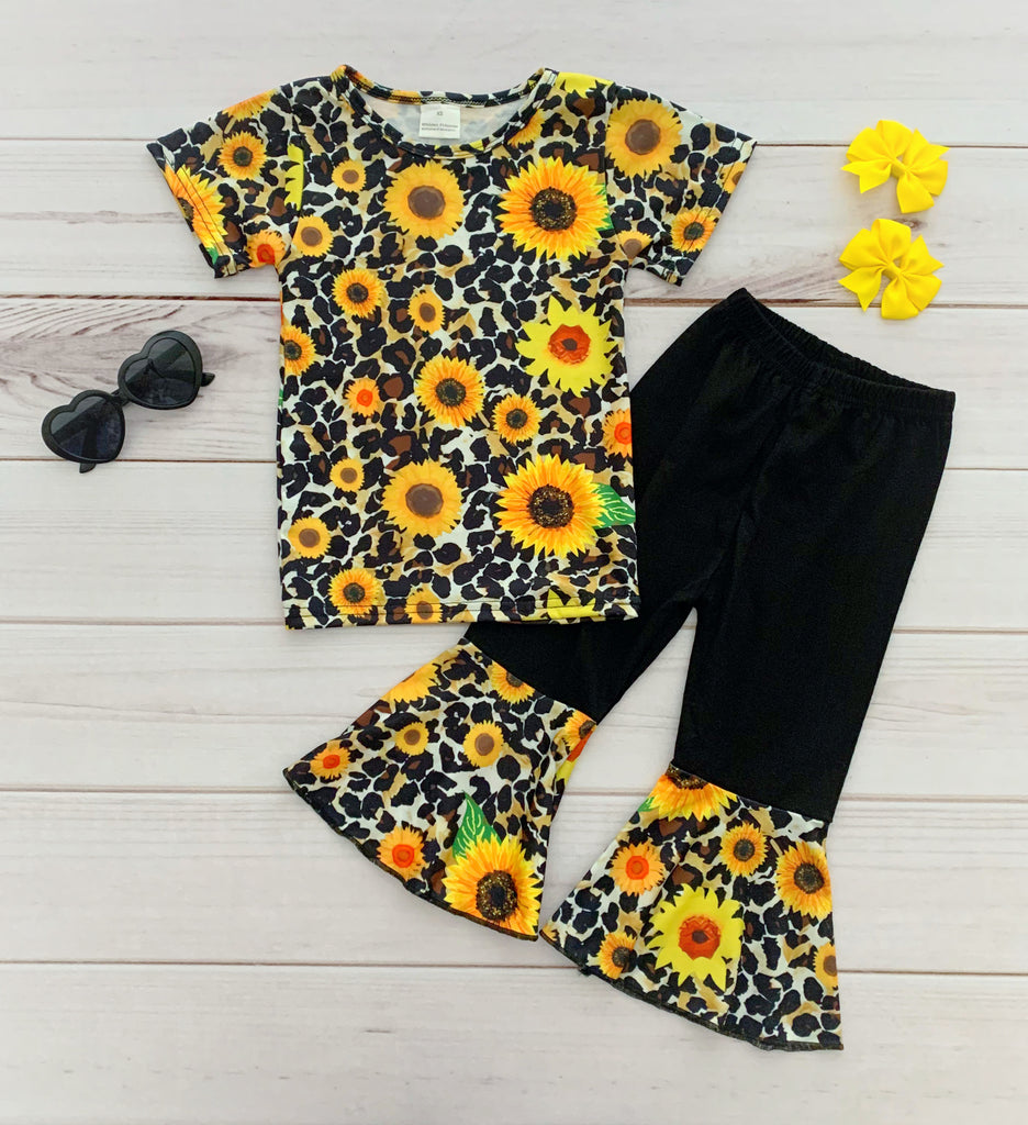 Leopard Sunflower Bell Bottom Pant Set