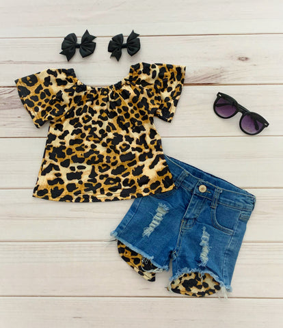 Leopard Denim Short Set