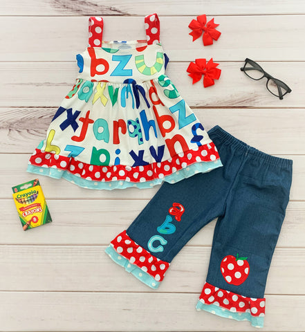 Denim Alphabet Back to School Outfit