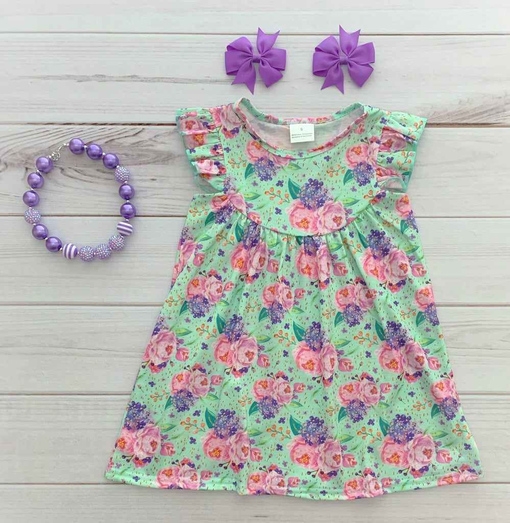 """Caressa"" Floral Pearl Dress"