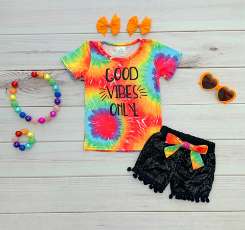 Good Vibes Only Sequins Short Set