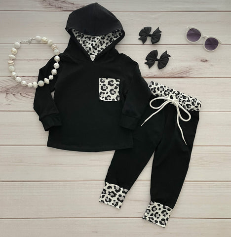 Black/White Leopard Jogger Set