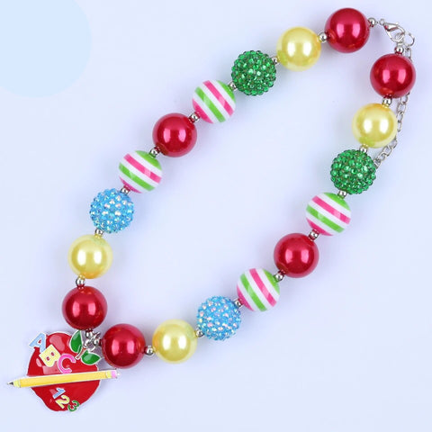 """ABC 123 Back to School"" Apple Chunky Necklace"