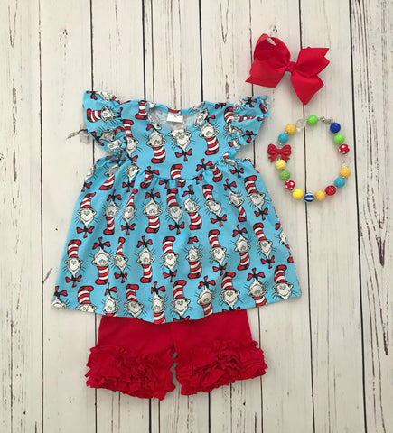 Cat in the Hat Inspired Short Set {LIMITED}
