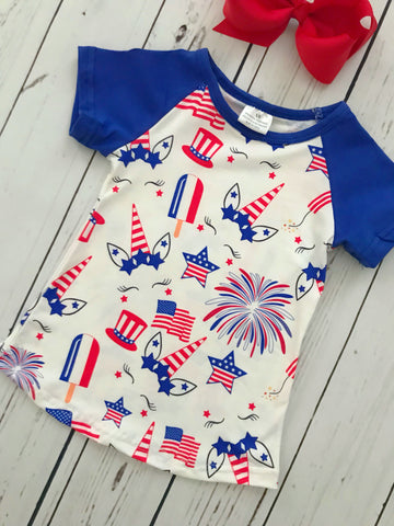 Patriotic Unicorn Tee - Royal Blue