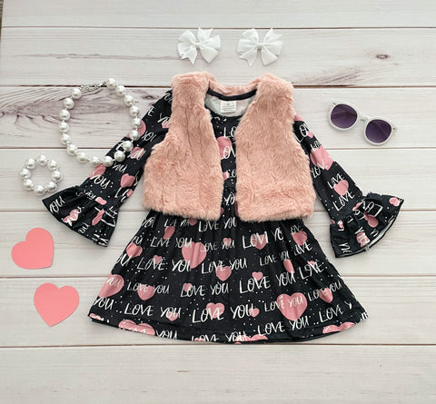 LOVE Valentine's Dress w/ Fur Vest
