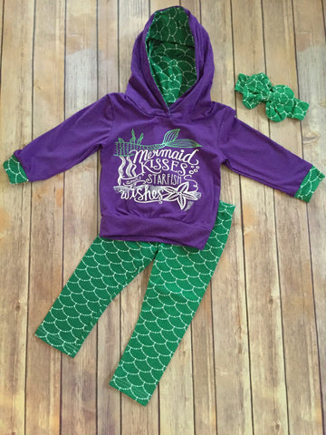 Mermaid Kisses and Starfish Wishes Hooded Top/Pant Set