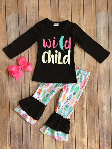 Wild Child Feather Pant Set