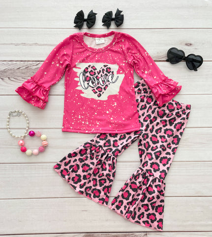 Pink Leopard LOVE Bells Set