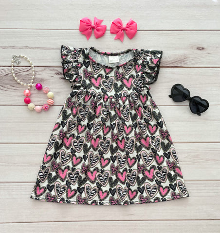 Black/Pink Zebra Valentine's Pearl Dress