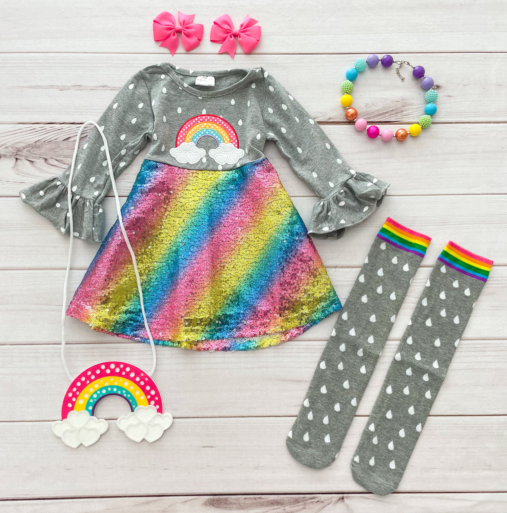 Rainbow Sequins Boutique Dress w/socks