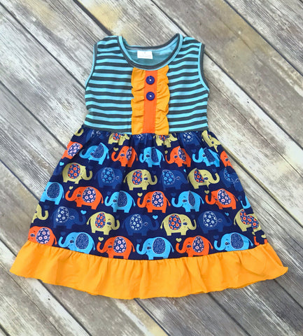 Striped Navy Elephant Dress {LIMITED}