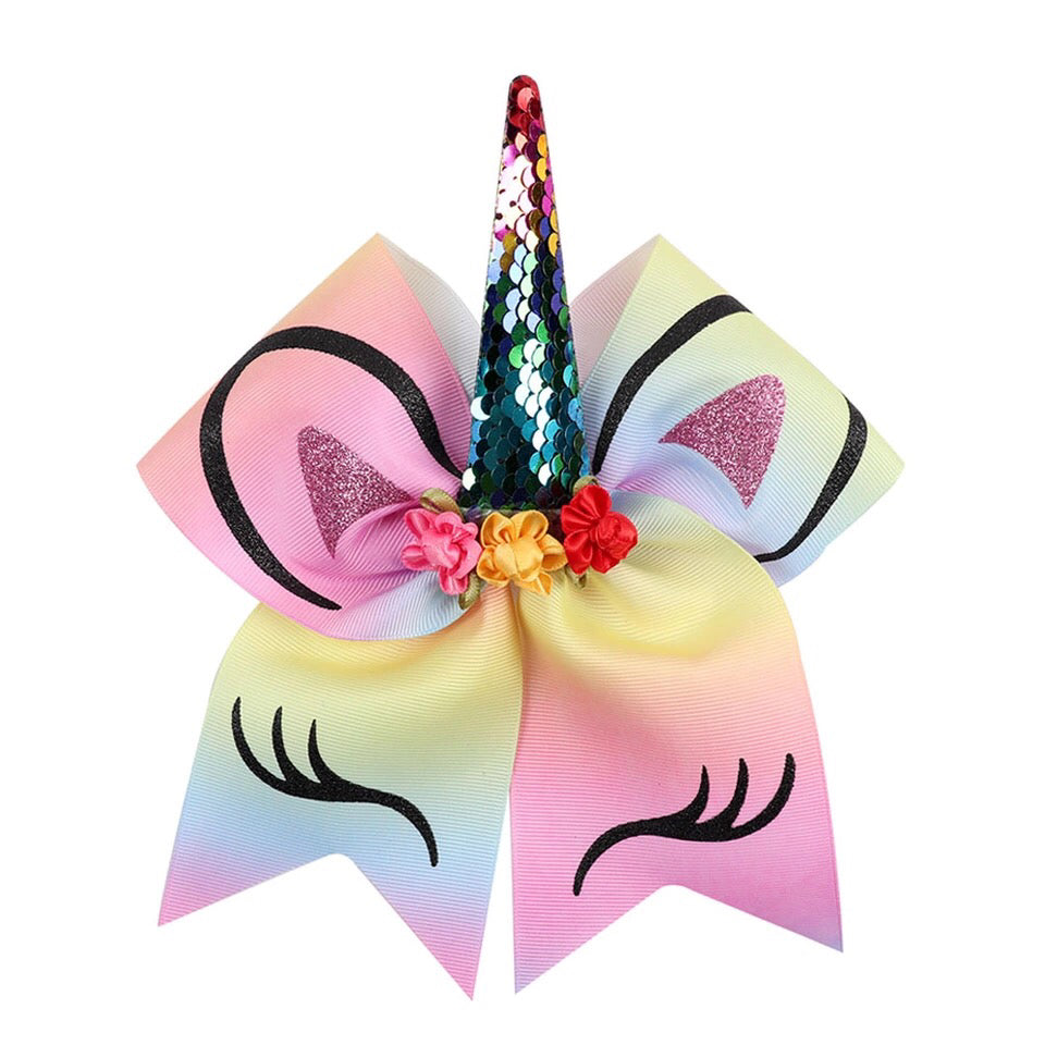 "Unicorn 7"" Bow Hair Tie - Rainbow"