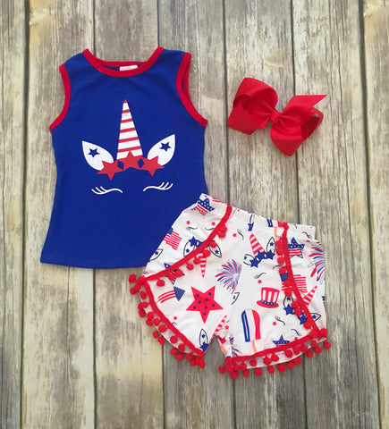 Patriotic Unicorn Pom Pom Short Set