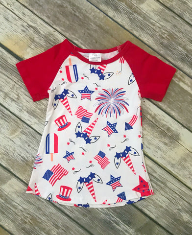 Patriotic Unicorn Tee - Red