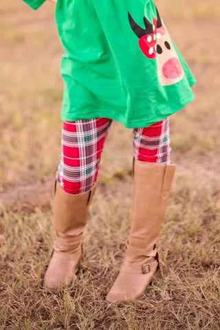 Plaid Rudolph 3-Piece Boutique Outfit
