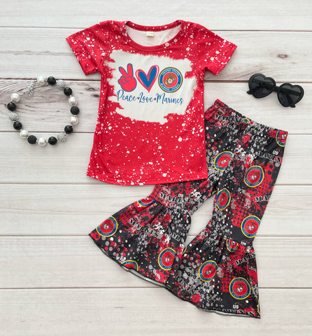 Peace•Love•Marines Bell Bottom Pant Set