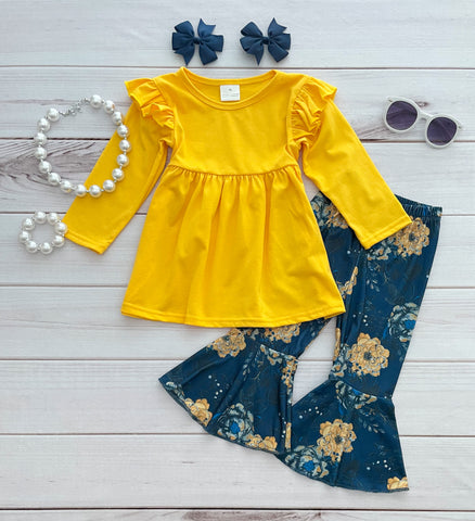 """Julia' Yellow/Navy Floral Boutique Outfit"