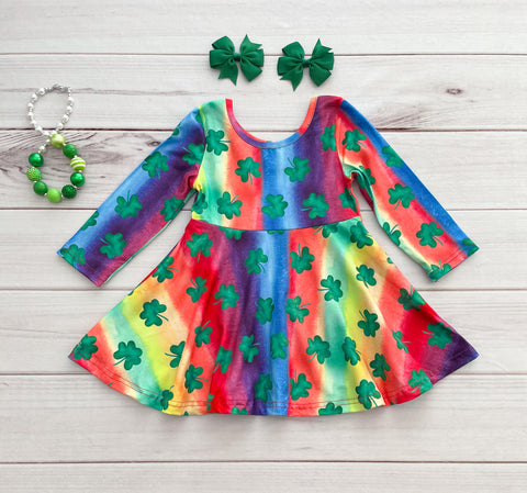 Rainbow Shamrock Boutique Twirl Dress