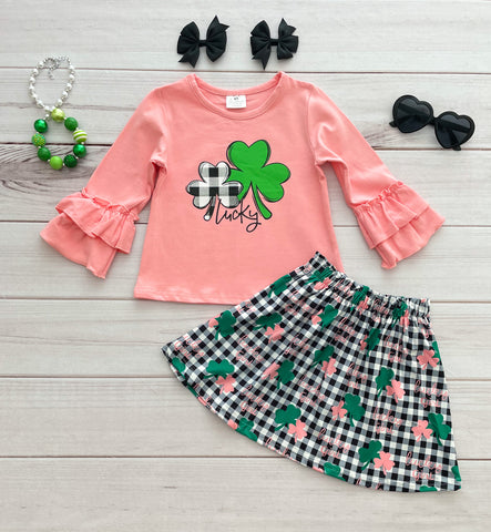 """Lucky Girl"" Shamrock Skirt Set"