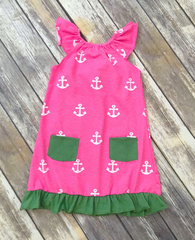 Pink/Green Anchor Pocket Dress {LIMITED}