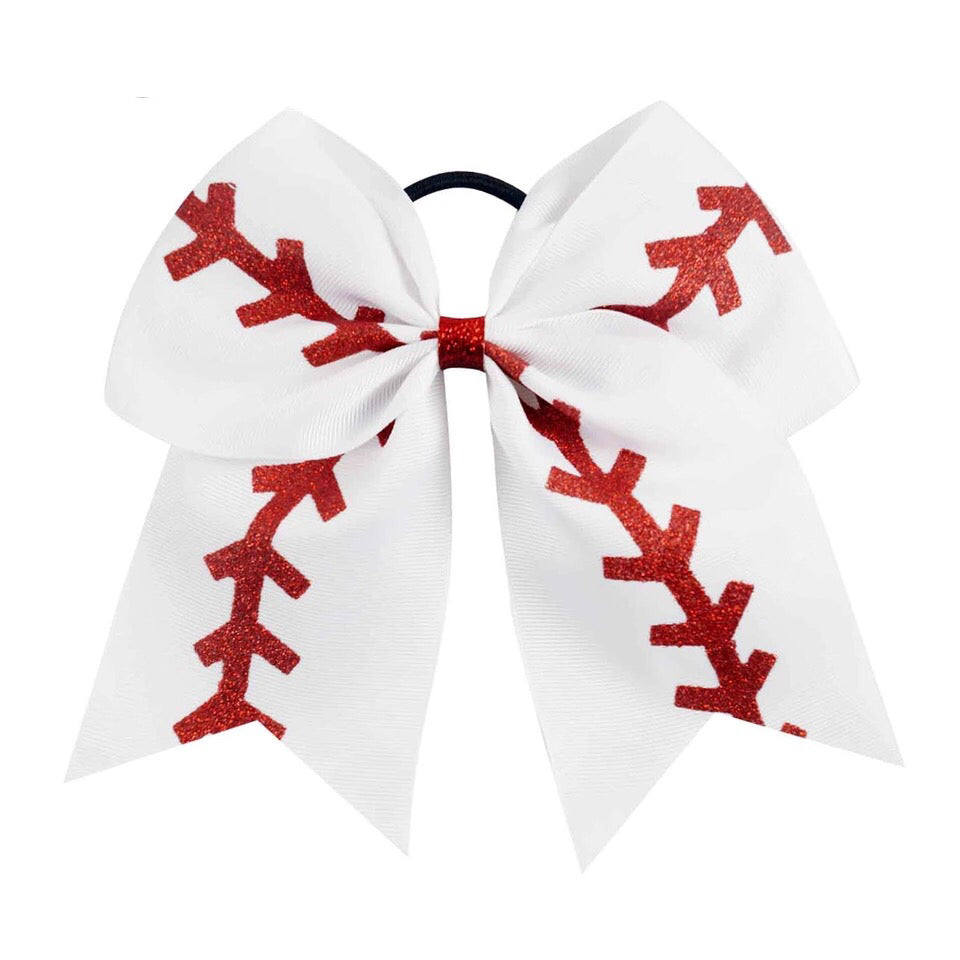 "Baseball 7"" Bow Hair Tie"