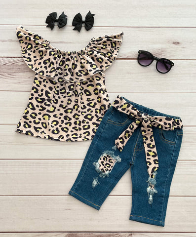 """Macy"" Leopard/Denim Capri Set - TODAY ONLY!"