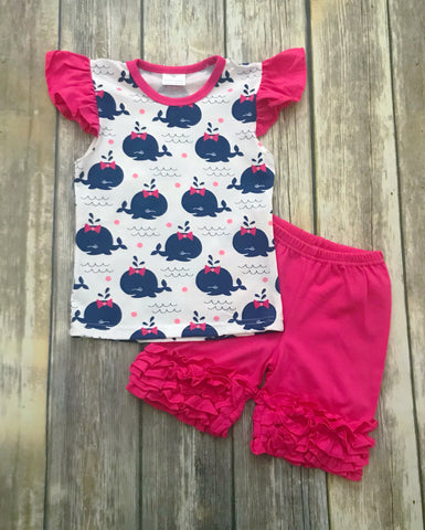 Pink/Navy Whale Short Set
