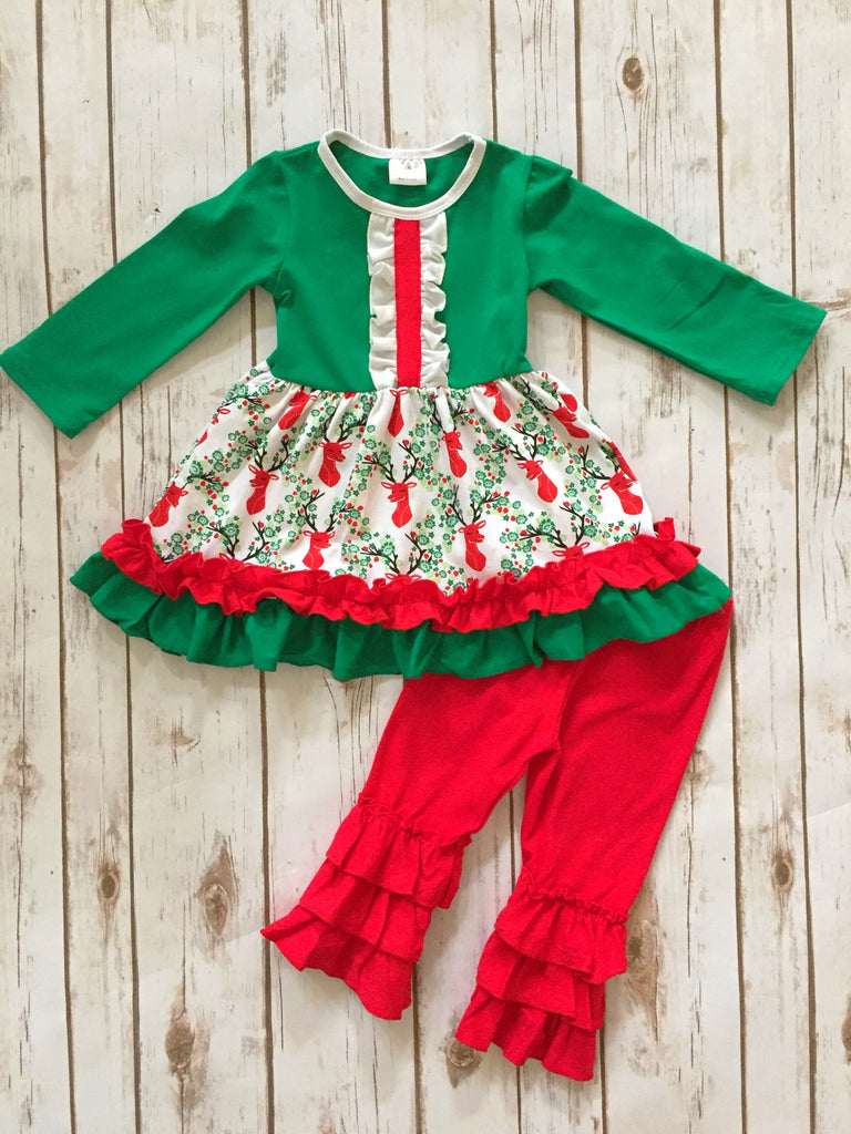 Christmas Deer Ruffle Boutique Outfit