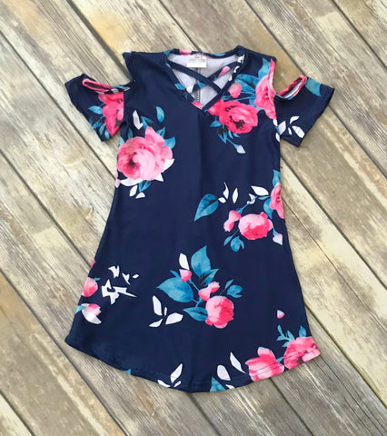 """Meghan"" Floral Cold Shoulder Dress - Navy"