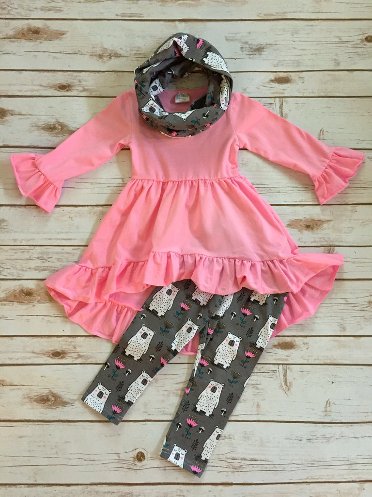 Beary Pink 3-Piece Boutique Outfit