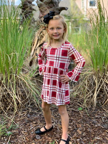 """Kaylee"" Plaid Boutique Dress - Cranberry"