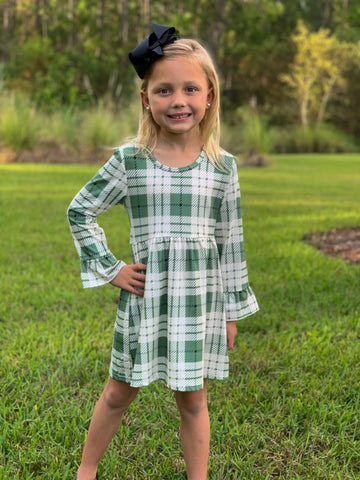 """Kaylee"" Plaid Boutique Dress - Sage"