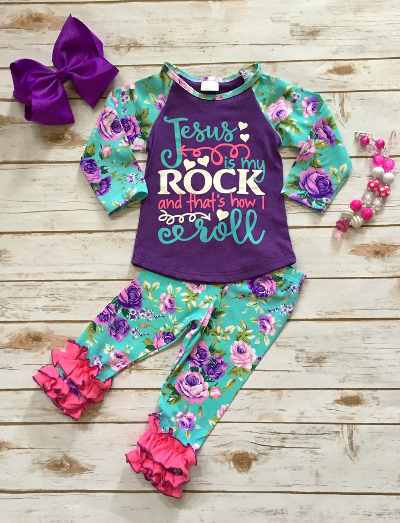 """Jesus is my Rock"" Floral Pant Set"
