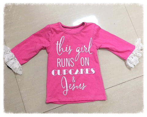 "ALMOST GONE!!! ""Cupcakes & Jesus"" Lace Ruffle Top"