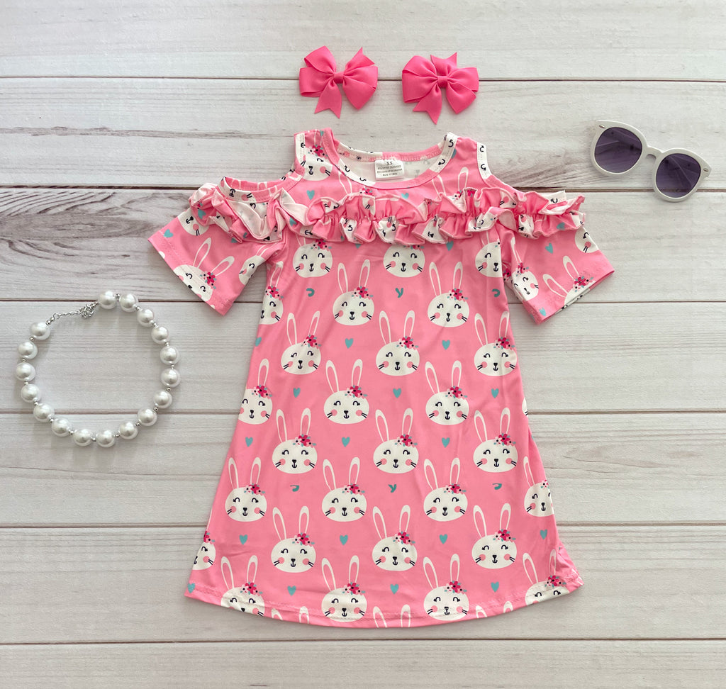 Pink Cold Shoulder Easter Bunny Dress