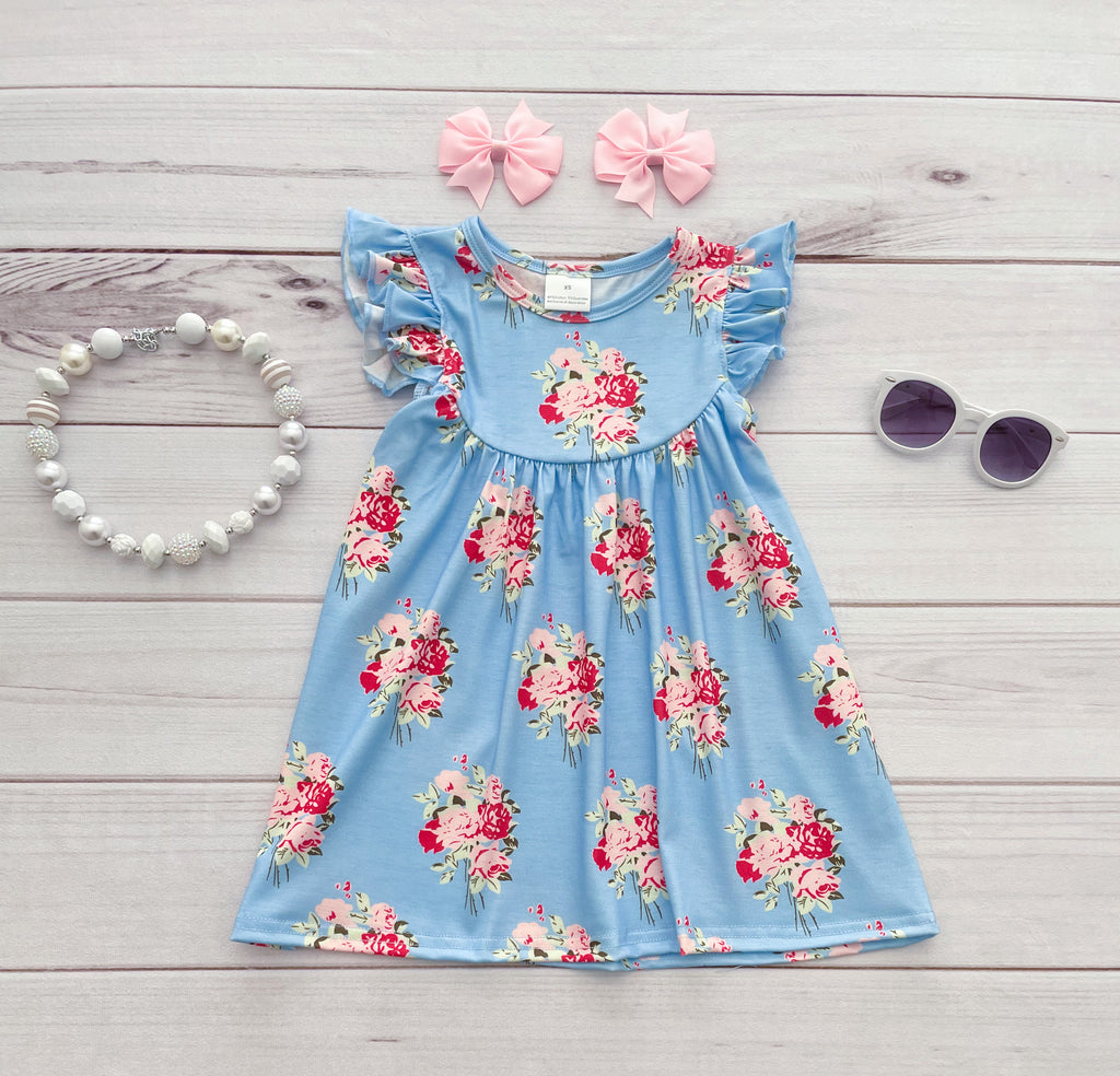 """Anna Grace"" Floral Pearl Dress"