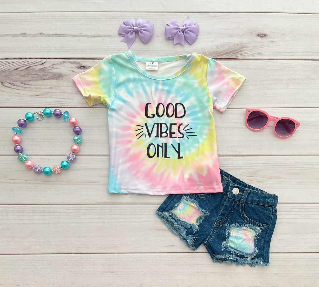 Good Vibes Denim Short Set