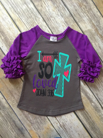 """I am so Loved"" Ruffle Raglan Tee"