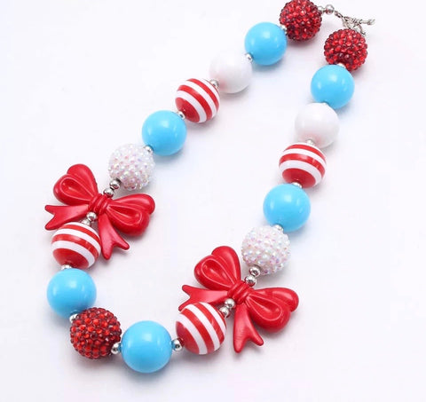 Dr. Seuss Inspired Bow Chunky Necklace