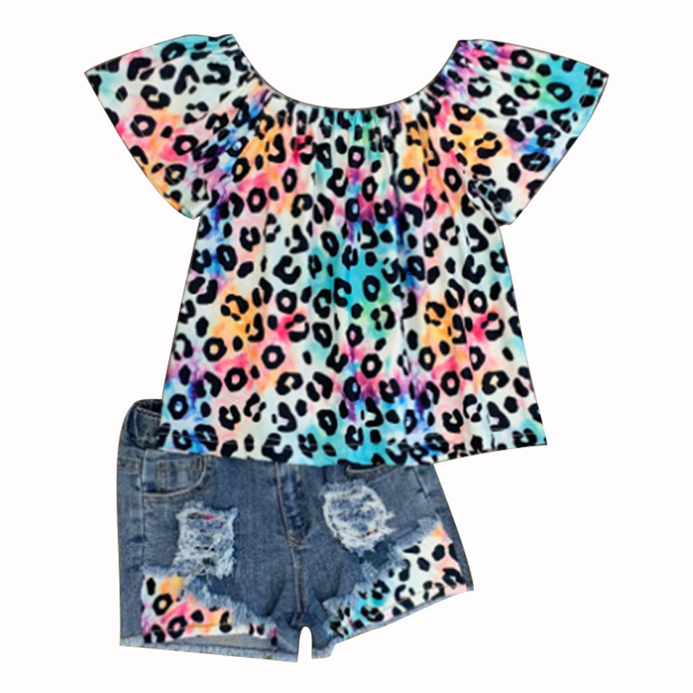 Rainbow Leopard Denim Short Set