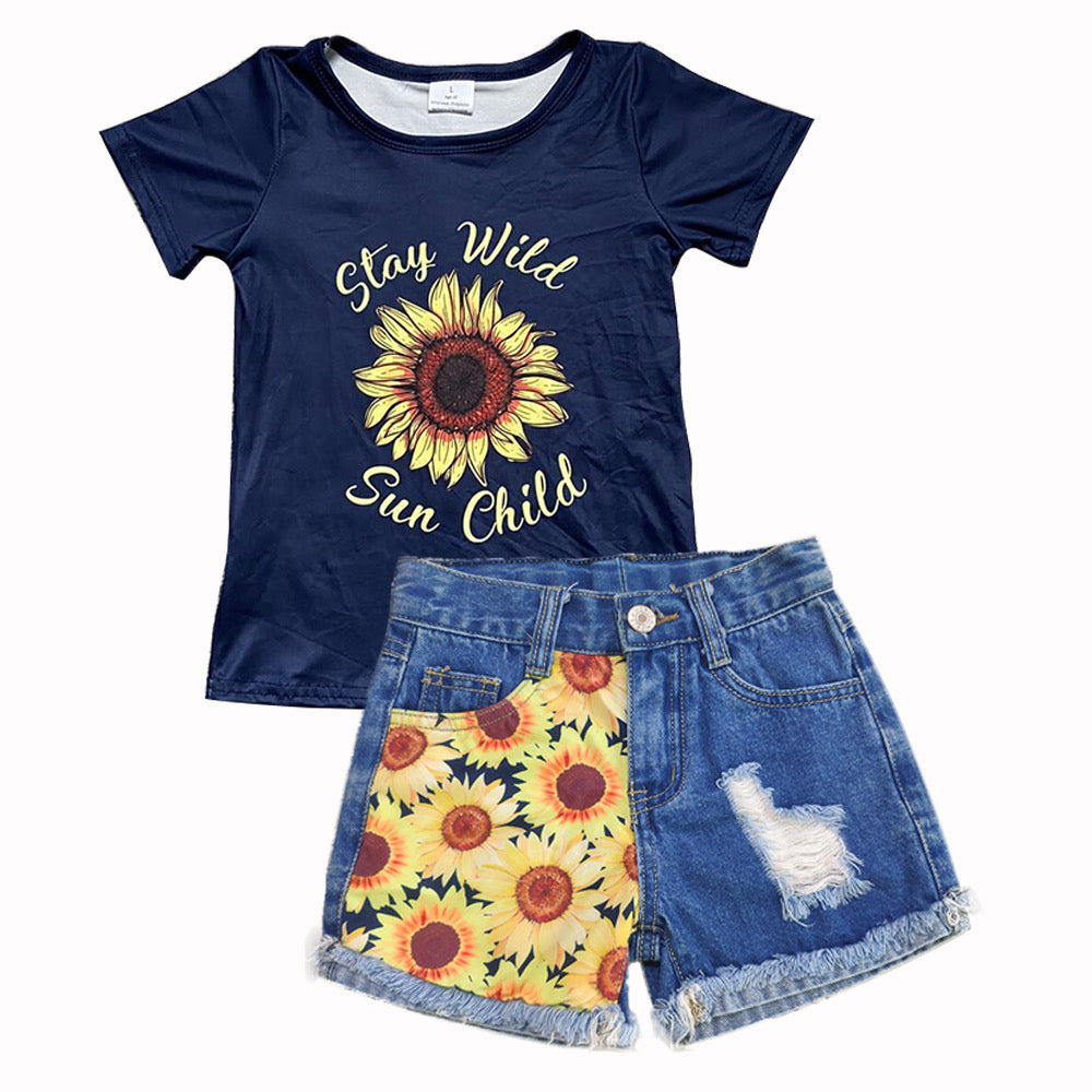 Stay Wild Sun Child Denim Short Set