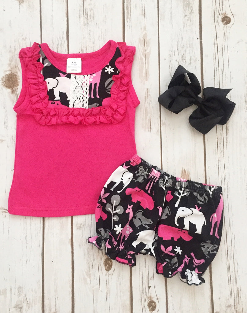 "Hot Pink ""Jungle Friends"" Short Set"