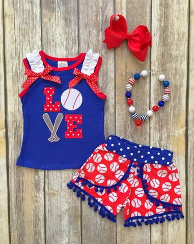 Baseball LOVE Pom Pom Short Set