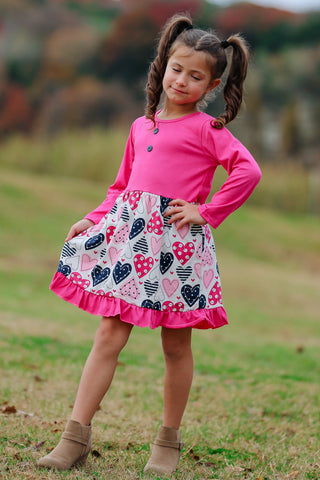Pink/Navy Hearts Valentine's Boutique Dress
