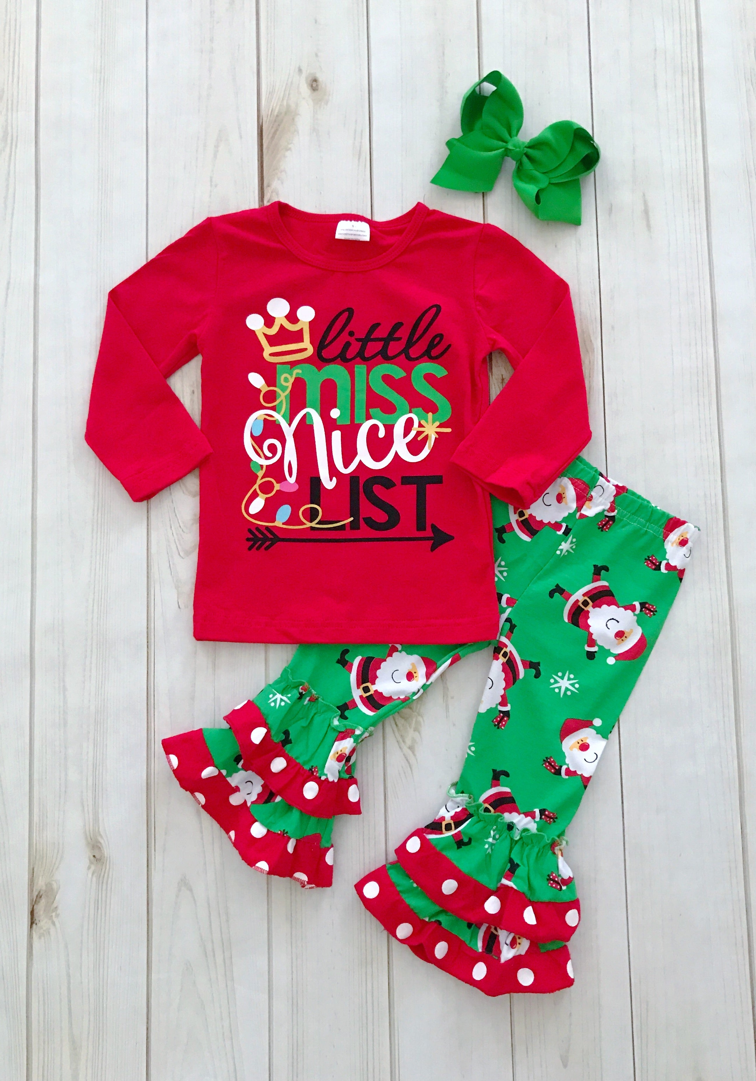 Little Miss Nice List Christmas Outfit, girls boutique clothing ...