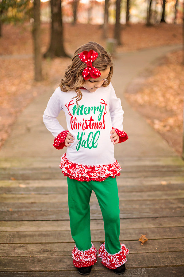 Merry Christmas Y'all Boutique Outfit, girls boutique clothing – Rylee  Faith Designs - Merry Christmas Y'all Boutique Outfit, Girls Boutique Clothing