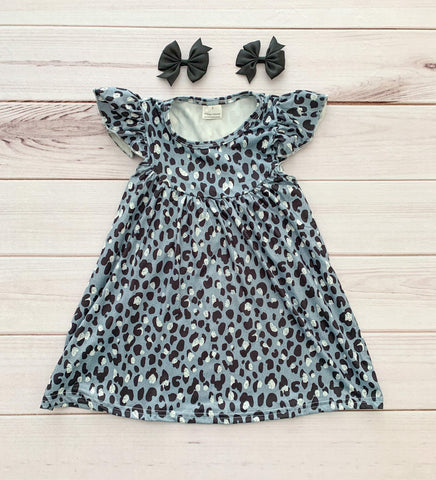 Gray Leopard Pearl Dress